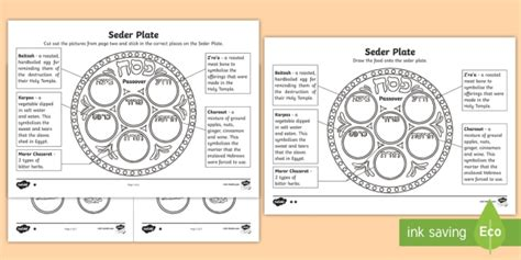 the seder plate worksheet passover hebrew passover