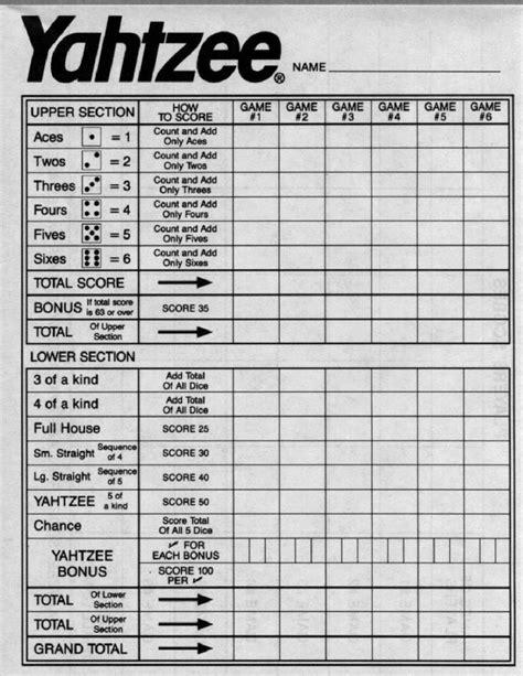 yahtzee score sheets printable   yahtzee game