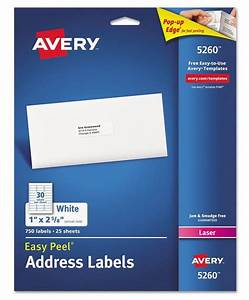 new 750 avery laser address labels 5160 5260 easy peel With avery mailing labels 1 x 2 5 8