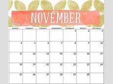 Cute November 2018 Calendar Template Printable Office