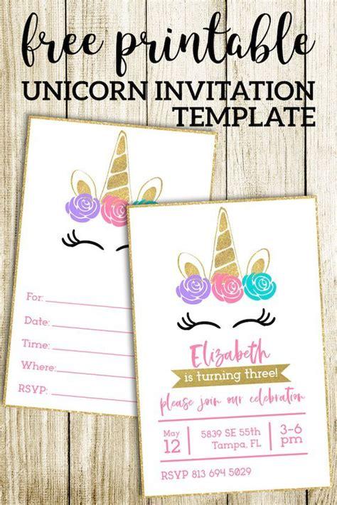 printable unicorn invitations template birthdays