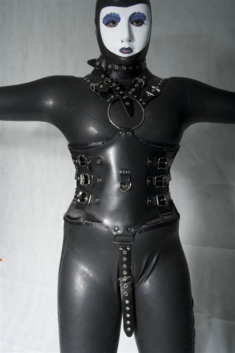 black full body bondage costume  cuffs dotty
