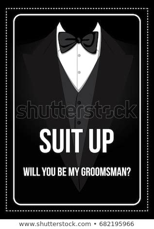 prom invitation poster suit bow stock illustration