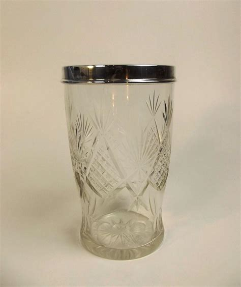 Cut Glass Flower Vases by A George V Silver Mounted Cut Glass Flower Vase 1927
