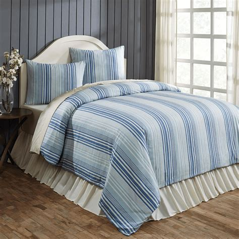 lake coast blue stripe queen duvet cover set teton