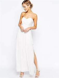 ivory strapless ankle length chiffon slit casual wedding With ivory casual wedding dresses