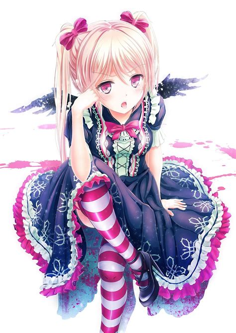 original characters wings blood thigh highs anime