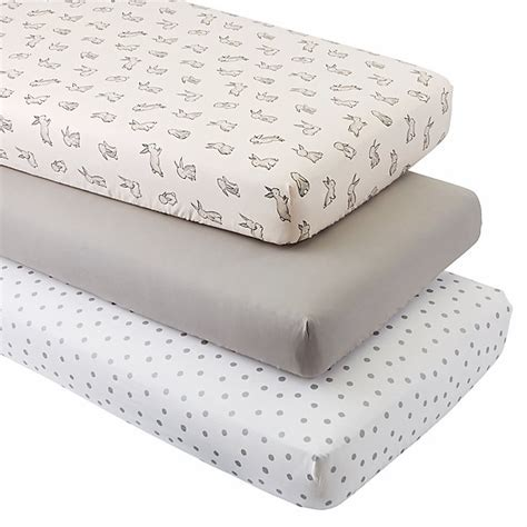 organic crib sheets organic bunny crib fitted sheets set of 3 the land of nod