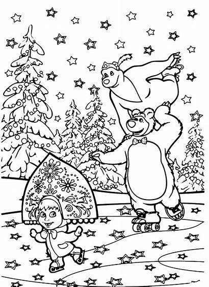 Masha Bear Coloring Orso Colorare Printable Disegni