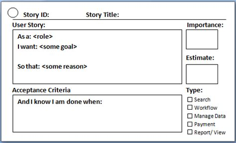 user story template user story in agile scrum