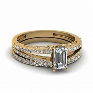 split emerald cut diamond wedding ring set in 14k yellow With emerald cut wedding ring set