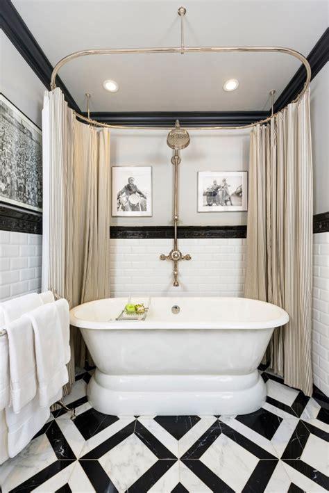 bathroom  black trim   tile floor decoist