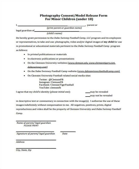 social media photo release form template release form templates