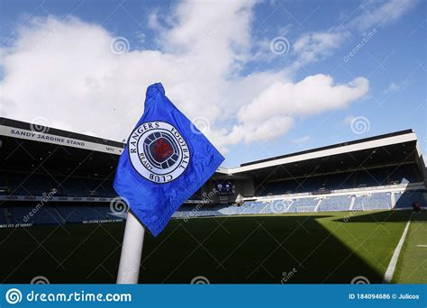 Corner Flag With Glasgow Rangers Crest And Deep Blue ...