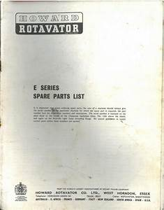 Howard Rotavator E Series Parts Manual