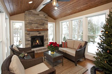 sunroom cedar ceiling white windows wood floor google search  images small fireplace