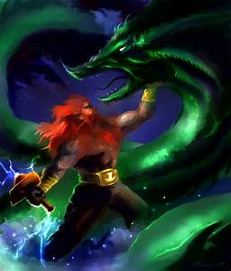 Thor and the Midgard Serpent by Daniel Monroe   ArtWanted.com