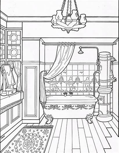 Furniture Coloring Pages Interior Adult Interiors