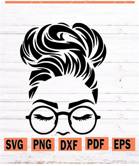 ️you will get a zip archive that includes these file formats: Messy bun with glasses svg, Messy bun svg, messy bun ...
