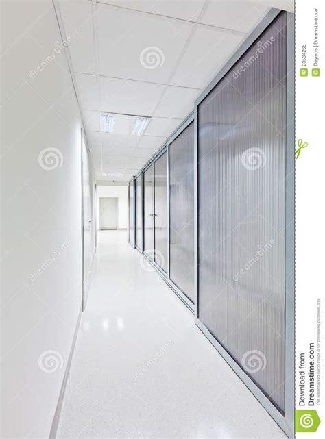 modern long corridor  glass doors royalty  stock