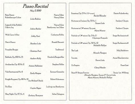 piano recital program bodeux april may family