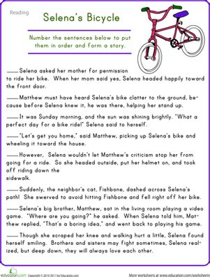 story sequencing selena s bicycle worksheet education