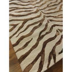 Fake Zebra Rug by Earth Safari Zebra Print With Faux Silk Highlights Area