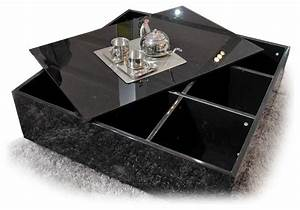 modern black square glass top coffee table with storage With black glass coffee table with storage