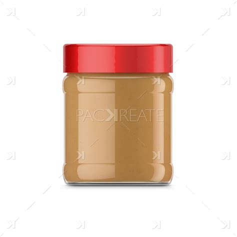 Composition of three jars with peanut butter. Packreate » 340g Peanut Butter Jar & Smart Label