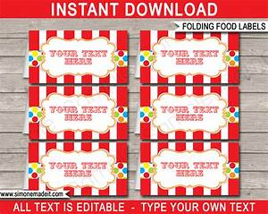 carnival party food labels place cards With colorful labels templates