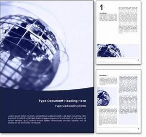 Royalty Free World Globe Microsoft Word Template In Blue