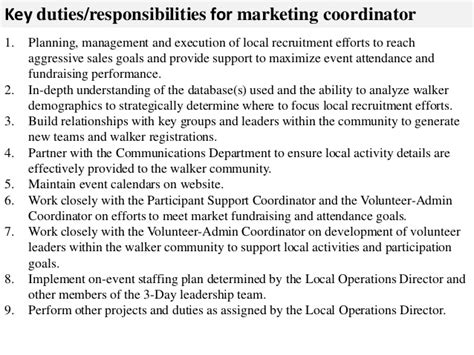 Marketing Coordinator Description And Duties by Marketing Coordinator Description