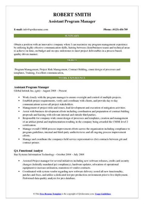 Free Resume Program by Assistant Program Manager Resume Sles Qwikresume