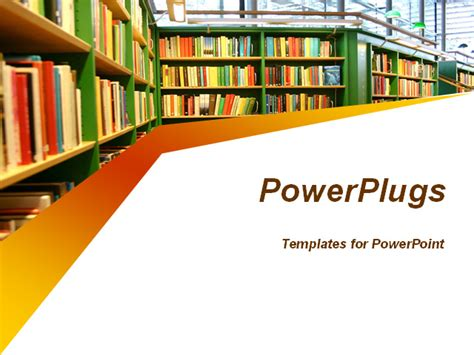 powerpoint template library shelves filled  books
