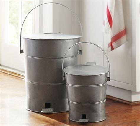 Gray Metal Trash Can
