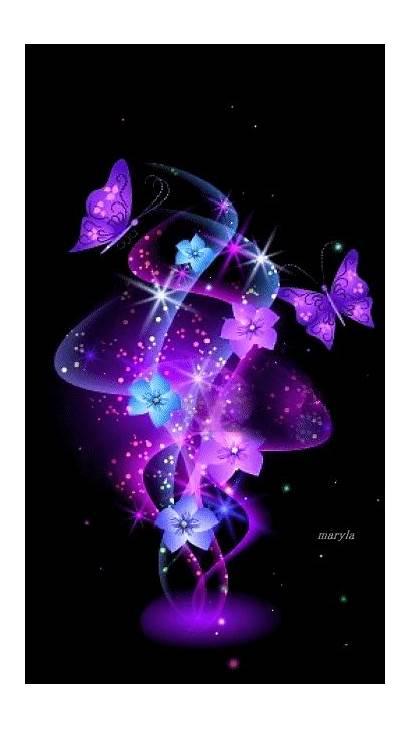 Flowers Butterfly Purple Pink Butterflies Neon Wallpapers