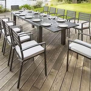 Table Chaise De Jardin : table de jardin extensible figari noire effet bois ~ Dailycaller-alerts.com Idées de Décoration