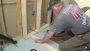 Diy basement bathroom part 1 shower stall frame drain for How to install bathroom in basement without rough in