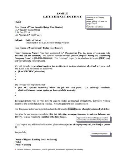 sample loi letter