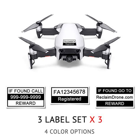 dji mavic air drone labels  sets faa registration