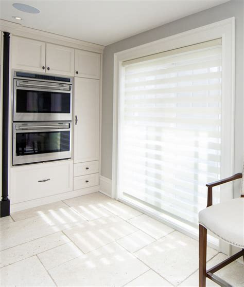 electric blinds covering patio door contemporary
