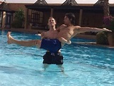 Robert Emms and Jack Donnelly in a swimming pool via Sarah ...