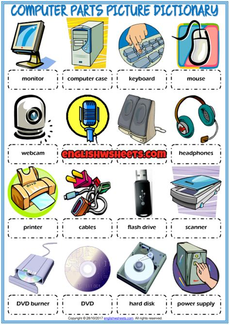 computer parts picture dictionary esl worksheet for