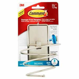 Command Hair Dryer Holder Satin Nickel 1 Hair Dryer