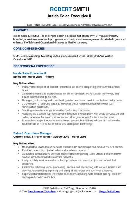 sales executive resume samples qwikresume