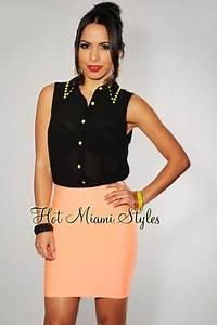 Neon Coral Elastic Mini Skirt