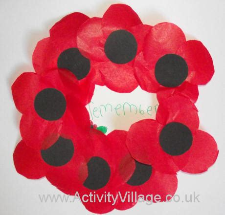 poppy wreath craft  kids  remembrance day