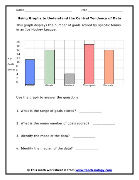 6th grade statistics worksheets using graphs to understand the central tendency of data