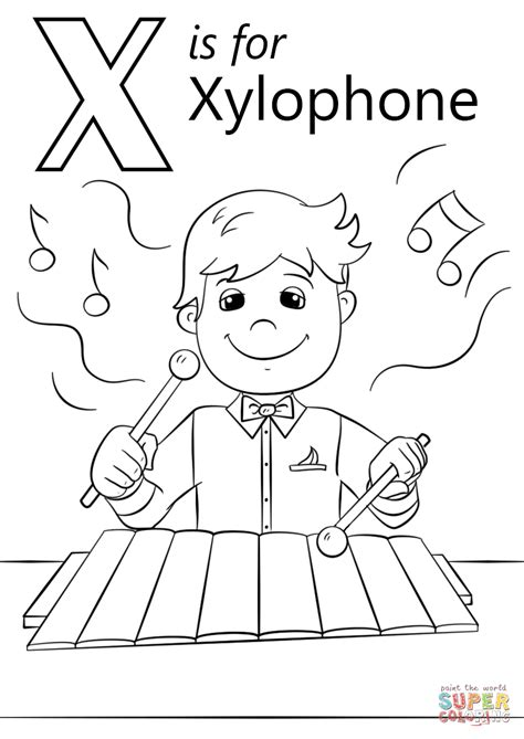Coloring X Letter Page letter x is for xylophone coloring page free printable