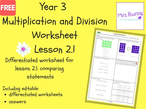 comparing multiplication  division worksheets